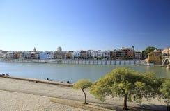 Seville on the Guadalquivir river stock photo