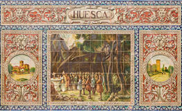 Seville - The Huesca as one of The tiled 'Province Alcoves' along the walls of the Plaza de Espana Royalty Free Stock Photos