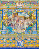 Seville - The Lugo as one of The tiled 'Province Alcoves' along the walls of the Plaza de Espana Stock Photo