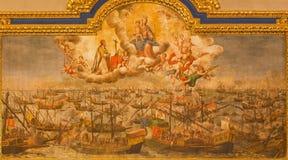 Seville målarfärg av striden av Lepanto från 7 10 1571 i den kyrkliga Iglesiaen de Santa Maria Magdalena av Lucas Valdez (1661 -  Arkivfoton