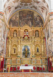 Seville - The main altar of baroque church Basilica del Maria Auxiliadora. Royalty Free Stock Photography