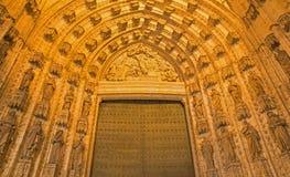 Seville - The main west portal (Puerta de la Asuncion) of Cathedral de Santa Maria de la Sede Stock Photos