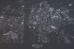 Seville map, satellite view, city, Spain Stock Image