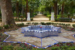 Seville maria luisa parkerar trädgårdar Spanien royaltyfri fotografi