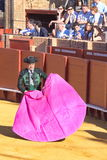 Seville - May 16: Spanish torero is performing a bullfight at th Stock Photo