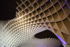 Metropol Parasol in Plaza de la Encarnacion, the biggest wooden structure in Europe. Seville, Metropol Parasol in Plaza de la Encarnacion, the biggest wooden Royalty Free Stock Photography
