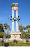 Seville - Monumentoen en Cristobal Coloon för av Maria Luisa Park av skulptören Lorenzo Coullaut Valera Royaltyfria Foton
