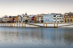 Seville. Morning view over the River Guadalquivir in Seville, Spain royalty free stock images