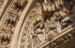 Seville - narodzenie jezusa scena na Puerta San Miguel na Katedralnym De Santa Maria de losie angeles Sede Obrazy Royalty Free