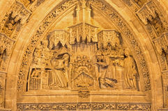 Seville - The Nativity scene on the Puerta San Miguel on the  Cathedral de Santa Maria de la Sede Stock Photography
