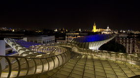 Seville by night. View of spanish city of seville from metropol parasol at night Royalty Free Stock Photo