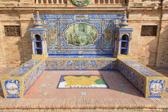 Seville - The Orense as one of the tiled 'Province Alcoves' along the walls of the Plaza de Espana Stock Images