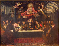 Seville - The paint of Last supper on the main altar  in baroque church Hospital de los Venerables Sacerdotes. Stock Photography
