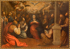 Seville - The paint of Pentecost in church Iglesia de San Roque (Roch) by unknown painter. Stock Photo