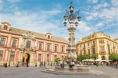 Seville, Plac Del Triumfo i Palacio arzobispal - (arcybiskupi pałac) Obraz Royalty Free