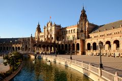 Seville, Plaza de España, royal palace and canal stock images