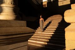 Seville, Plaza de España, staircase of the royal palace at sunset stock image
