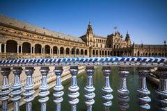 Seville Plaza de Espana ornamental rail and buildings Royalty Free Stock Photography