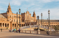 Seville - Plaza de Espana square designed by Ani­bal Gonzalez (1920s) in Art Deco and Neo-Mudejar style. Royalty Free Stock Photos