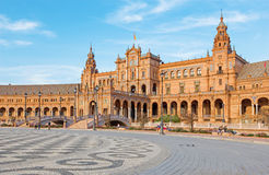 Seville - The Plaza de Espana square designed by Anibal Gonzalez (1920s) in Art Deco and Neo-Mudejar style. Royalty Free Stock Photography