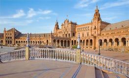 Seville - Plaza de Espana square designed by Anibal Gonzalez (1920s) in Art Deco and Neo-Mudejar style. Stock Photo