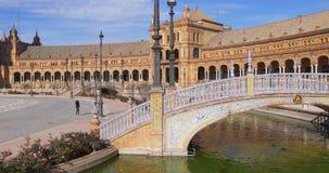 Seville plaza de espana sunny day panoramam 4k spain stock video footage