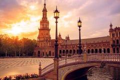 Seville Plaza de Espana sunset Andalusian Sevilla Royalty Free Stock Photography