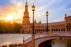 Seville Plaza de Espana sunset Andalusian Sevilla Stock Photos