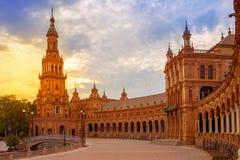 Seville Plaza de Espana sunset Andalusian Sevilla Royalty Free Stock Images