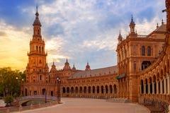 Seville Plaza de Espana sunset Andalusian Sevilla Royalty Free Stock Image