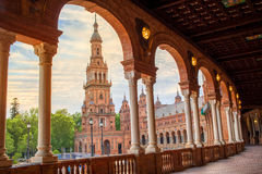 Seville Plaza de Espana sunset Andalusian Sevilla stock photography