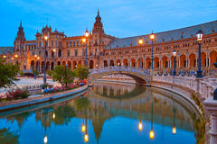 Seville Plaza de Espana sunset Andalusian Sevilla royalty free stock photo