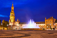 Seville Plaza de Espana sunset Andalusian Sevilla. Seville Sevilla Plaza de Espana at sunset in Andalusia Spain square Stock Photo