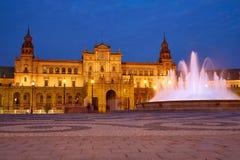 Seville Plaza de Espana sunset Andalusian Sevilla. Seville Sevilla Plaza de Espana at sunset in Andalusia Spain square Stock Image