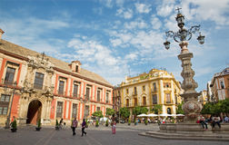 Seville - Plaza del Triumfo and Palacio arzobispal (archiepiscopal palace). Stock Photography
