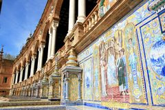 Seville. Plaza Espana typical ceramics azulejos Royalty Free Stock Photography