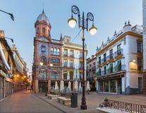 Seville - Plaza Jesu de la Pasion at dusk. Stock Photos
