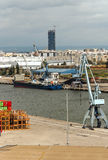 Seville port in vertical Royalty Free Stock Image