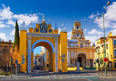 Seville Puerta la Macarena and Basilica Sevilla. Seville Puerta de la Macarena and Basilica church in Sevilla Andalusia Spain Stock Image