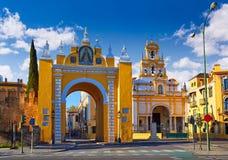 Seville Puerta la Macarena och basilika Sevilla Fotografering för Bildbyråer