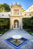 Seville - Real Alcazar Gardens in Seville Spain - nature and architecture background. Spain stock photo