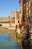 Seville - reflections in The Plaza De Espana Stock Images
