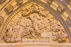 Seville - The relief of Assumption of Virgin Mary on the main west portal of Cathedral de Santa Maria de la Sede. Royalty Free Stock Images
