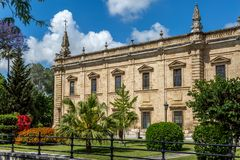 Seville`s University buildings and gardens stock photo