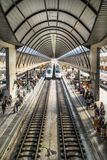 Seville Santa Justa railway station. Seville,Spain on 22nd Sept 2017:The Seville Train Station Santa Justa is the third-busiest station in Spain, servicing over Stock Image