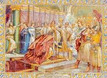 Seville - scena koronacja królewiątko Alfonso VII de Castilla w roku 1135 ściany plac De Espana Fotografia Royalty Free