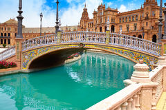Seville Sevilla Plaza de Espana Andalusia Spain. Seville Sevilla Plaza de Espana bridge Andalusia Spain square Stock Image