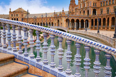 Seville Sevilla Plaza de Espana Andalusia Spain. Seville Sevilla Plaza de Espana ceramic balustrade Andalusia Spain square Stock Photography