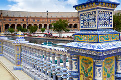 Seville Sevilla Plaza de Espana Andalusia Spain. Seville Sevilla Plaza de Espana ceramic balustrade Andalusia Spain square Stock Photo