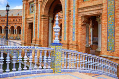 Seville Sevilla Plaza de Espana Andalusia Spain. Seville Sevilla Plaza de Espana ceramic balustrade Andalusia Spain square Royalty Free Stock Images